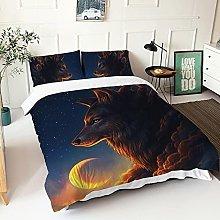 GNNSITT double duvet cover sets Animal wolf moon