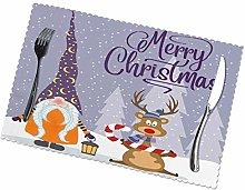 Gnome and Reindeer Placemats Table Mats Non-Slip