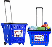 GoCart, Blue Grocery Shopping Basket Rolling