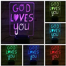 God Loves You Card 3D LED Lamp Bedside Decoration