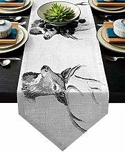 GodYo Table Runner Cotten Linen Black/White