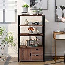 Gogogo 4-Tier Bookcase Shelving Unit with 2 Large