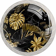 Gold and Black Tropical Leaves Decorative Cabinet