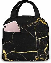 Gold and Black Wallpaper Insulated Lunch Bag