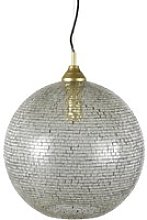 Gold and silver glass mosaic pendant light