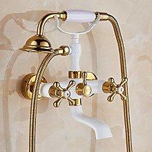 Gold and White Bathroom Tub Faucet Dual Handles