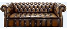 Gold antique leather Chesterfield sofa |
