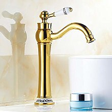 Gold Basin Faucet Bathroom Brass Hot and Cold