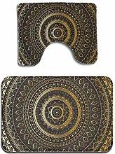 Gold Black Mandala Ethnic Oriental 2 Piece