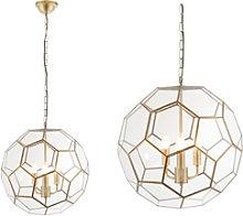 Gold Chandelier Light with 3 Bulbs & Geometric