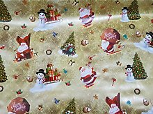 GOLD Christmas Table Decorations Oilcloth PVC