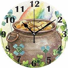 Gold Coins Pot Rainbow Clover Wall Clock Silent