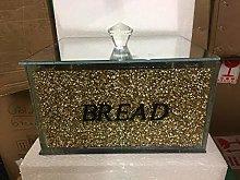Gold Crushed Diamond Crystal Mirrored Bread Bin