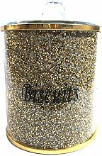 Gold Diamond Crushed Biscuit Canister Jar Tin