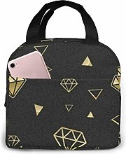 Gold Diamonds, Black Insulated Lunch Bag Cooler