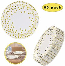 Gold Disposable Plates Paper Wedding Party,Polka