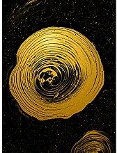 Gold Effect Yellow Black Paint Spiral Abstract Art