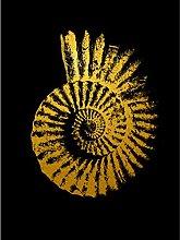 Gold Effect Yellow Black Sea Shell Spiral Art
