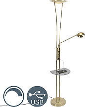 Gold floor lamp with reading arm incl. LED and USB