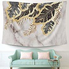 Gold Floral Tapestry for Living Room Bedroom Decor