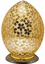Gold Flower Mosaic Glass Vintage Egg Table Lamp