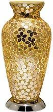Gold Flower Mosaic Glass Vintage Vase Table Lamp