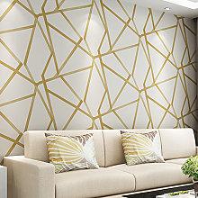 Gold Geometric Striped Non-woven Wallpaper Roll