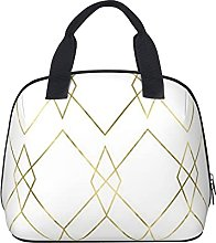 Gold Geometric Waterproof Insulated Lunch Bag