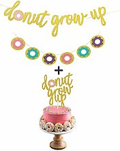 Gold Glitter Donut Grow Up Banner and Donut Grow