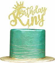 Gold Glitter King Birthday Cake Topper for Boy 1st