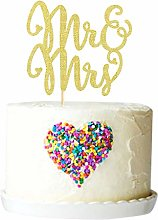 Gold Glitter Mr and Mrs Cake Topper Mr Mrs Cake