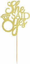 Gold Glitter She Said Yes Cake Topper for
