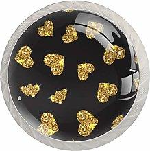 Gold Glittering Heart Pattern Black 1.18 Inch
