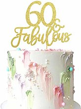 Gold Glittery 60 & Fabulous Birthday Cake Topper