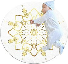 Gold lace pattern, Kids Round Rug Polyester Throw