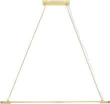Gold LED Pendant - / Metal & oak - L 124 cm by