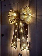Gold Lit Door Bow Christmas Decoration