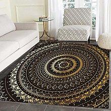 Gold Mandala Area Rug Indian Decorative Motif