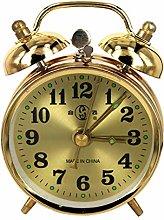 Gold Mechanical Alarm Clock Horseshoe Manual Wind