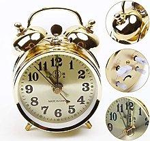 Gold Mechanical Alarm Clock Manual Wind Up Vintage