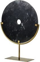 Gold Metal and Black Marble Circle Ornament H56