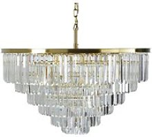 Gold Metal Chandelier with Bevelled Crystal Beads