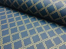 Gold Moroccan Arabic Damask Fabric Navy Blue