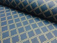 Gold Moroccan Arabic Damask Fabric Navy Blue
