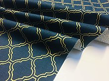 Gold Moroccan Arabic Damask Fabric Navy Blue -