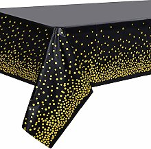 Gold Party Tablecloth, Disposable