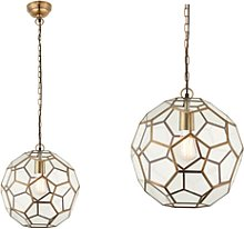 Gold Pendant Light with Antique Brass Geometric