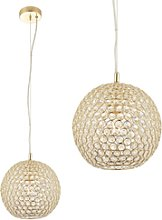 Gold Pendant Light with Brass Plate & Clear