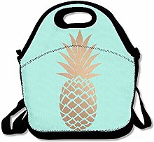 Gold Pineapple Mint Green Lunch Bag Insulated Tote