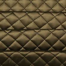 Gold Quilted Leather Diamond Stitch Padded Cushion